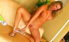 Busty Blonde Milf Pounded Herself With A Long Dildo