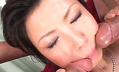Sex queen Marin Asaoka sucking two cocks gets mouth