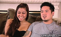 Horny oriental couple joins a XXX reality of swingers couples