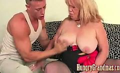Big tit granny getting some