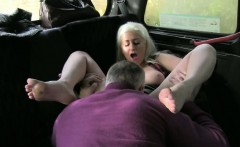 Huge boobs blonde slut fucked at the backseat