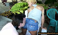 slave cleans his mistress ass