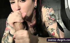 Goth pornstar swallows cum