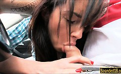 Skinny black haired teen Gina Devine ripped in the car