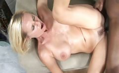 Sexy busty blonde does tit fuck and gets fucked in pussy