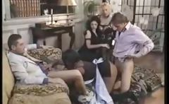 Gorgeous Euro-maidens Do Some Interracial Group Sex In The Living Room