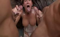 Brunette shows ass and gets lots of cocks and cum in group sex
