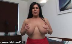 Mature brunette loves playing