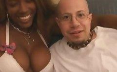 Black slut sucks white guys cock