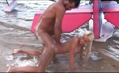 Superb Blonde Ass Fucked On The Beach