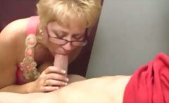 He gets blown by a mature slut who loves sucking cock