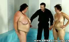 Huge BBW wins wrestling match and she grabs referees hard dick