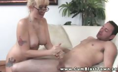 Mature amateur tugging dick for this lucky guy