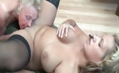 Horny old blonde and busty lesbian