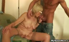 Horny blonde granny sucks and fucks her son-in-laws cock