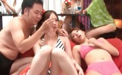 Asian sex doll gets tongue kissed at a hot sex party