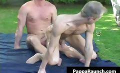 Mature gay dude gets his hard dick