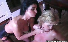 Kinky Carmen gets this hot blonde MILF
