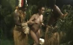 Dark chocolate tribal men find a brunette in the forest to fuck