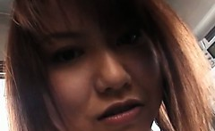 Lovely japanese redhead flashing hairy cunt in close-up
